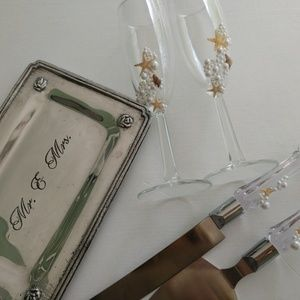 Beach Wedding Gift Set Flutes,Servets, Ring Tray